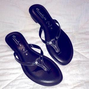 Black Italian padded SILVER dressy Flip Flop 8 NEW